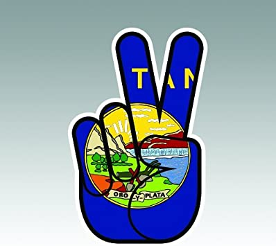 Montana State Shaped Peace Sign Sticker Decal Vinyl hippie 60s love MT