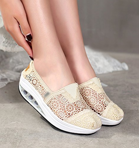 Wedge Running Shoes Loafers Walking Sneakers Hollow Shoes LINNUO Platform Lace Women Floral Trainers Out Heel Driving Beige Fitness zXWWgPnqO