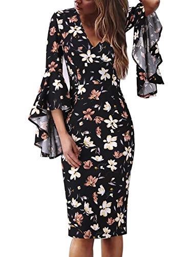 VFSHOW Womens Sexy V Neck Floral Print Bell Sleeve Cocktail Sheath Dress 1923 BLK XS