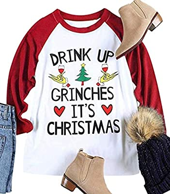 Drink UP Grinches It's Christmas Women Plus Size 3/4 Sleeve Funny Cute Christmas Graphic Raglan Baseball Tee Shirt Tops