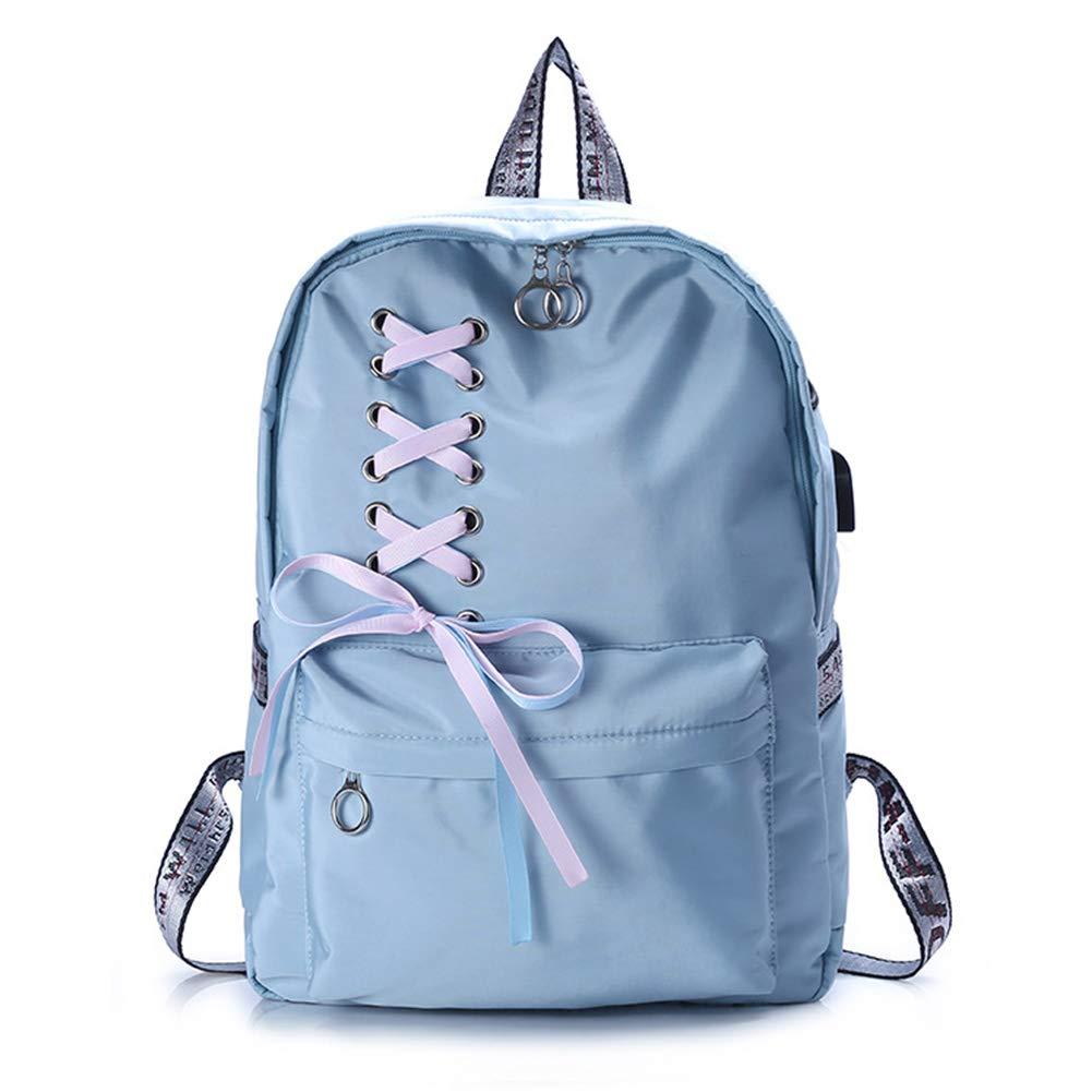 LHJ Einfache Schultasche, Lässiger Studentenrucksack, USB-ladeanschluss, Verschleißfest Wasserdicht,Blau1,OneGröße B07MGWQML8 Daypacks Produktqualität