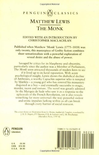 matthew gregory lewis the monk summary