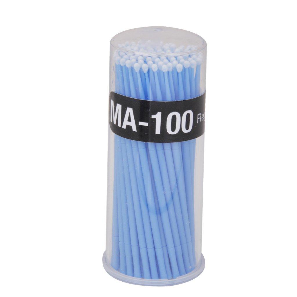 100pcs Coton-tige Brosse Micro Jetable Démaquillage pour Extension de Cils de Mascara - Bleu
