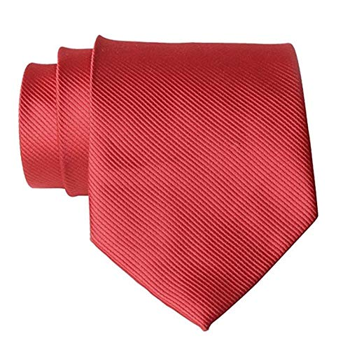 QBSM Mens Solid Polyester Textile Neckties Pure Color Neck Ties Red ()