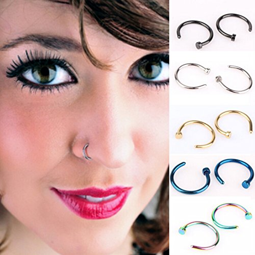 HSELL Pack of 10pcs Assorted Nose Studs Rings,Stainless Steel Body Jewelry Piercing Nose Hoop Ring,Body Slave...