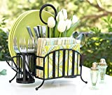 Mesa Delaware Collection Flatware Organizer and Picnic Caddy Carry All, Matte Black