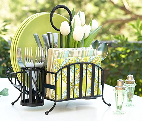 Mesa Delaware Collection Flatware Organizer and Picnic Caddy Carry All, Matte Black ()