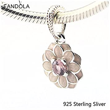 e64546b38 Image Unavailable. Image not available for. Color: 925 Sterling Silver  Beads Fits Pandora Jewelry Bracelets Blooming Dahlia, Cream Enamel ...