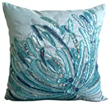 "Blue Decorative Pillow Cover, Aqua Sequins and Beaded Beach and Ocean Theme Pillows Cover, 18""x18"" Throw Pillow Cover, Silk Pillows Cover, Floral Mediterranean Decorative Pillows Cover - Water Burst"