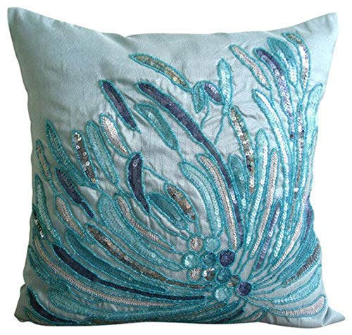Blue Decorative Pillow Cover, Aqua Sequins and Beaded Beach and Ocean Theme Pillows Cover, 16