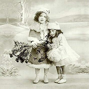 Vintage Bilder Weihnachten.Weihnachten Vintage Servietten Winter Mützen 20 Stück 3 Lagig