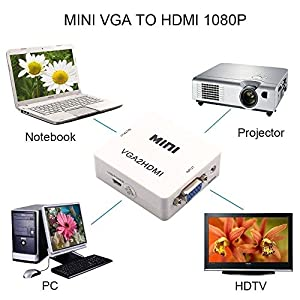 NAMEO VGA To HDMI, Mini HD 1080P 3.5mm Audio VGA To HDMI HD HDTV Video Converter Box Adapter VGA2HDMI for PC Laptop Dispaly Projector from NAMEO