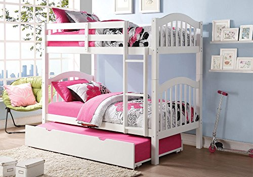 1PerfectChoice Heartland Youth Kids Twin over Twin Bunk Bed Convertible w/ Bottom Trundle White by Acme Furniture