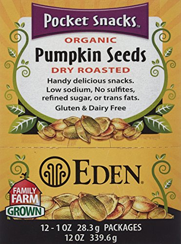 Eden Foods Organic Pocket Snacks Pumpkin Seeds Dry Roasted 12 Packages 1 oz 28 3 g - Seeds Pumpkin Eden Roasted