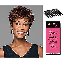 Zest Wig Color G19+ Gabor Women's Wigs Capless Short Textured Boy Cut Lightweight 2 oz Bundle with Comb, MaxWigs Hair Loss Booklet