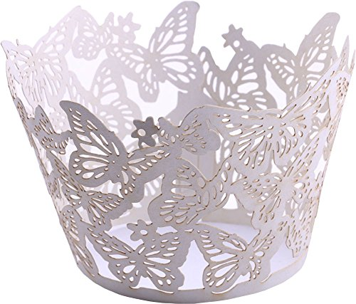DriewWedding 50PCs Butterfly Pattern Hollow Artistic Bake Cake Cupcake Wrappers Paper Cups Liner for Wedding Birthday Tea Party Baby Shower Food Decoration (White)