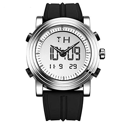 SINOBI Digital Watch Big Case Men Women Sport Watches Luminous Dual Time Display Hour Black Rubber Strap