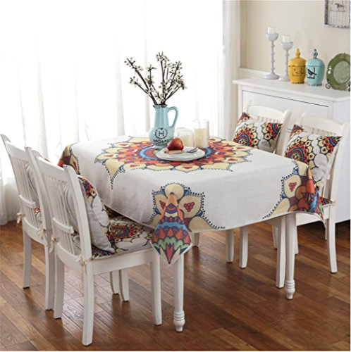 EffortLife Cotton Linen Tablecloth Rectangular Table Cover for Dinner, Summer,Party & Picnic Bohemian Table Cloth 43 x 63 Inch by EffortLife