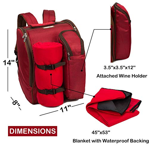 Apollo Walker Tawa 2 Person Red Picnic Backpack With