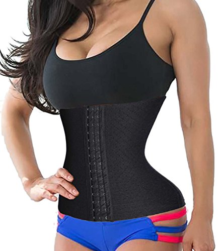Waist Trainer Hourglass Corset Cincher Sport Body Shaperwear Fat Burner for Women (L, Black)