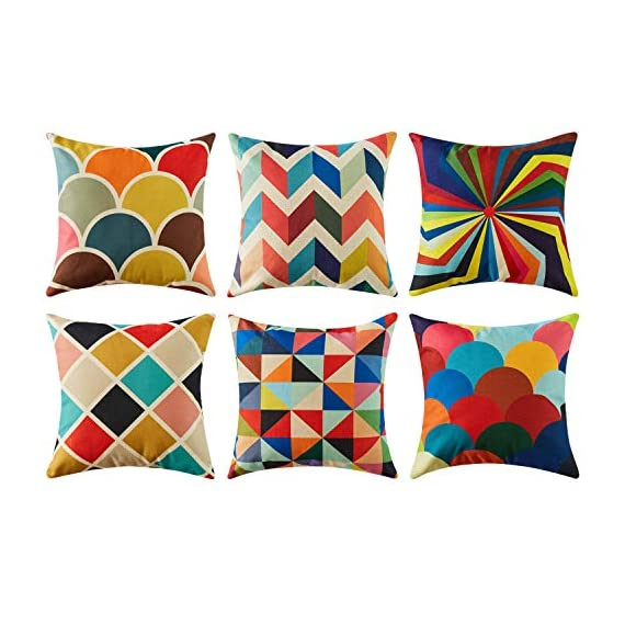 Top Finel Decorative Outdoor Throw Pillow Covers Set - Square Cotton Linen Cushion Covers 18 X 18 Inch for Sofa Couch, Set of 6, Series - SUPER PLUSH MATERIAL & SIZE: Made of high quality cotton linen, comfortable to touch and lay on. 18 X 18 Inch per pack, included 6 packs per set, NO PILLOW INSERTS. WORKMANSHIP: Delicate hidden zipper closure was designed to meet an elegant look. Tight zigzag over-lock stitches to avoid fraying and ripping. NO PECULIAR SMELL: Because of using environmental and high quality cotton linen fabric,our throw pillow cases are the perfect choice for those suffering from asthma, allergen, and other respiratory issues. - patio, outdoor-throw-pillows, outdoor-decor - 51r4j vcsXL. SS570  -