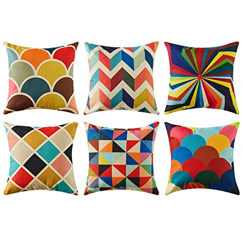 Top Finel Decorative Outdoor Throw Pillow Covers Set - Square Cotton Linen Cushion Covers 18 X 18 Inch for Sofa Couch, Set of 6, Series