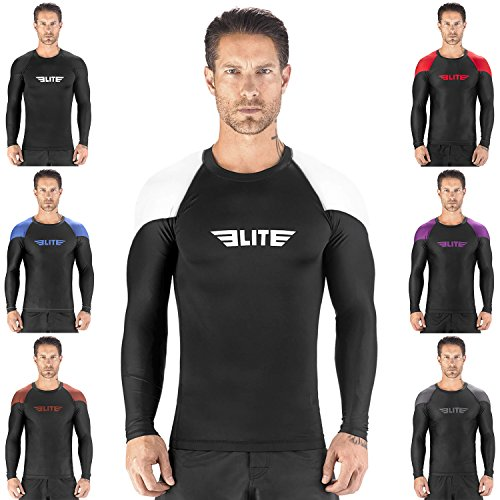 Elite Sports New Item Full Long Sleeve Compression, Mma, Bjj, No Gi, Cross Training Rash Guard, Large, White
