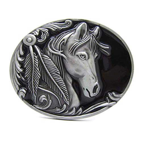 Western Horse Native American Indian Grey Belt Buckles Animal Rodeo Style Belt Buckle for Cowboy Cowgirl Men Womens Buckles for Belts