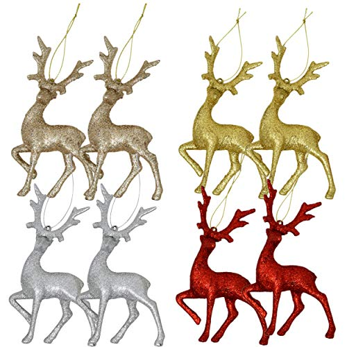Reindeer Christmas Ornaments (Gift Boutique Mini Reindeer Christmas Ornaments Figurines 8 Pack Deer Moose Tree Decorations Silver Red Gold Champagne Glitter Festive Holiday Party)