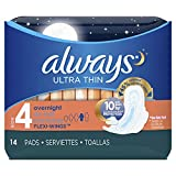 Always Ultra Thin Feminine Pads for Women, Size 4, Overnight Absorbency, with Wings, Unscented, 14 Count - Pack of 4 (56 Count Total)