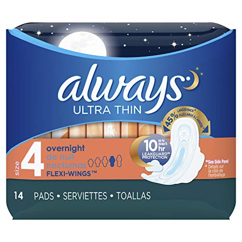 Always Ultra Thin, Size 4, Overnight Pads with Wings, Unscented, 14 Count, Pack of 4 (Always Ultra Thin Overnight Pads With Flexi Wings)