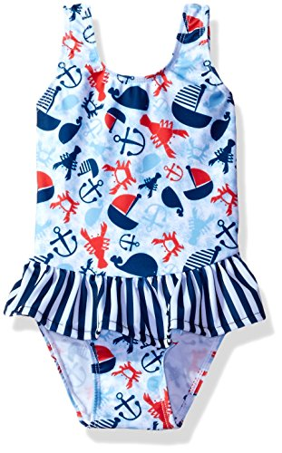 - Flap Happy Baby Girls' UPF 50+ Serena Contrast Swimsuit, Lobster Lagoon, 12m