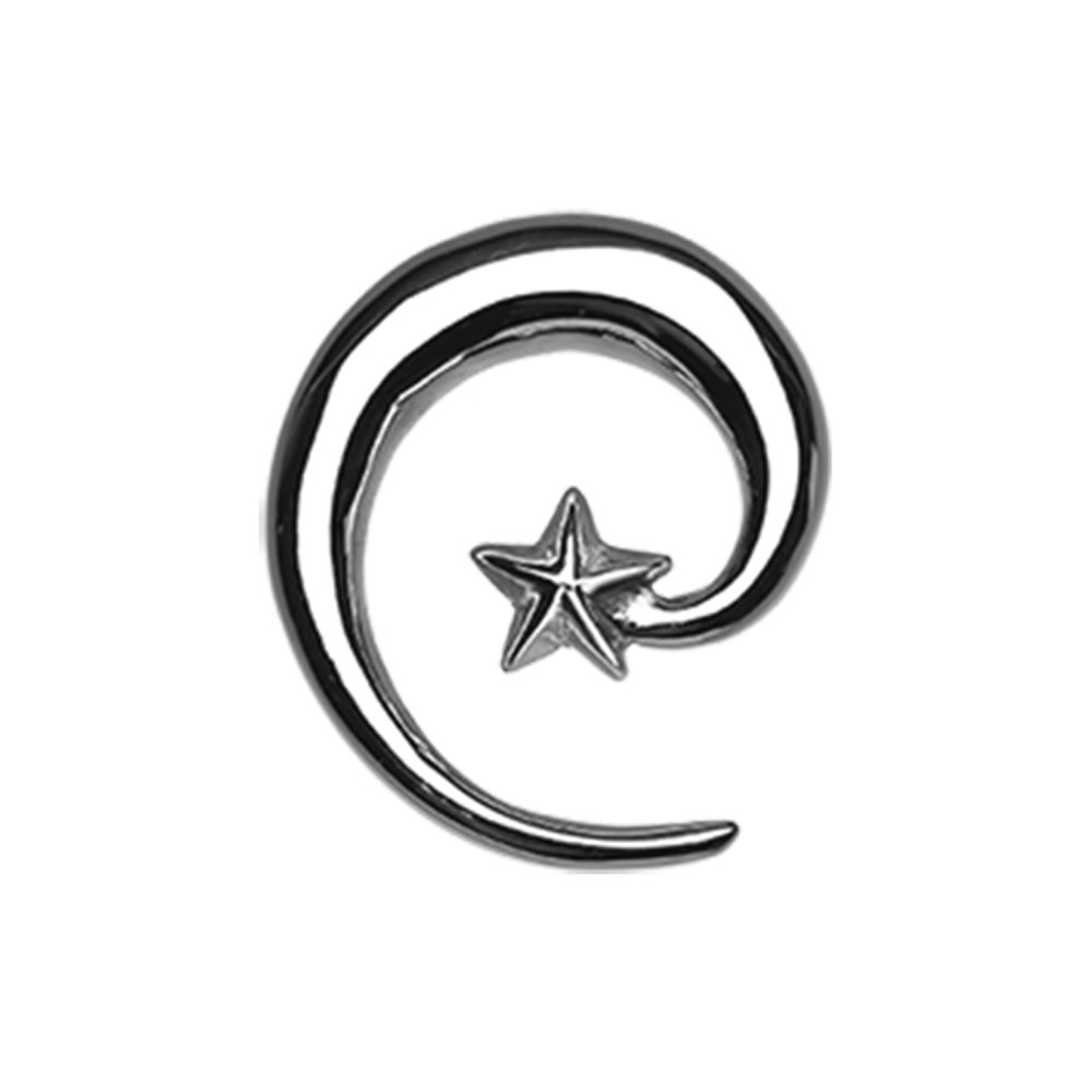Inspiration Dezigns Falling Star Steel Ear Gauge Spiral Hanging Tapers (Sold as a Pair) (0G)