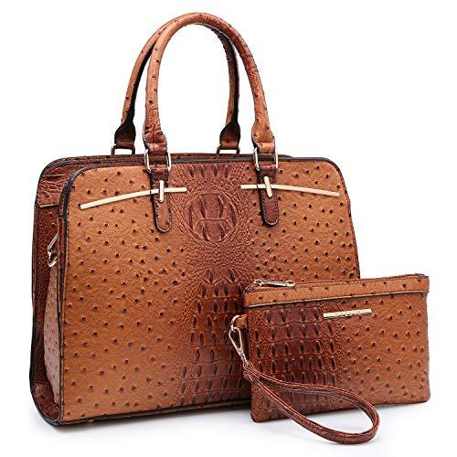 Price comparison product image Women Handbag Fashion Satchel Multi Pockets Purse 2 Pieces Set Triple Compartment Shoulder Bag Faux Leather