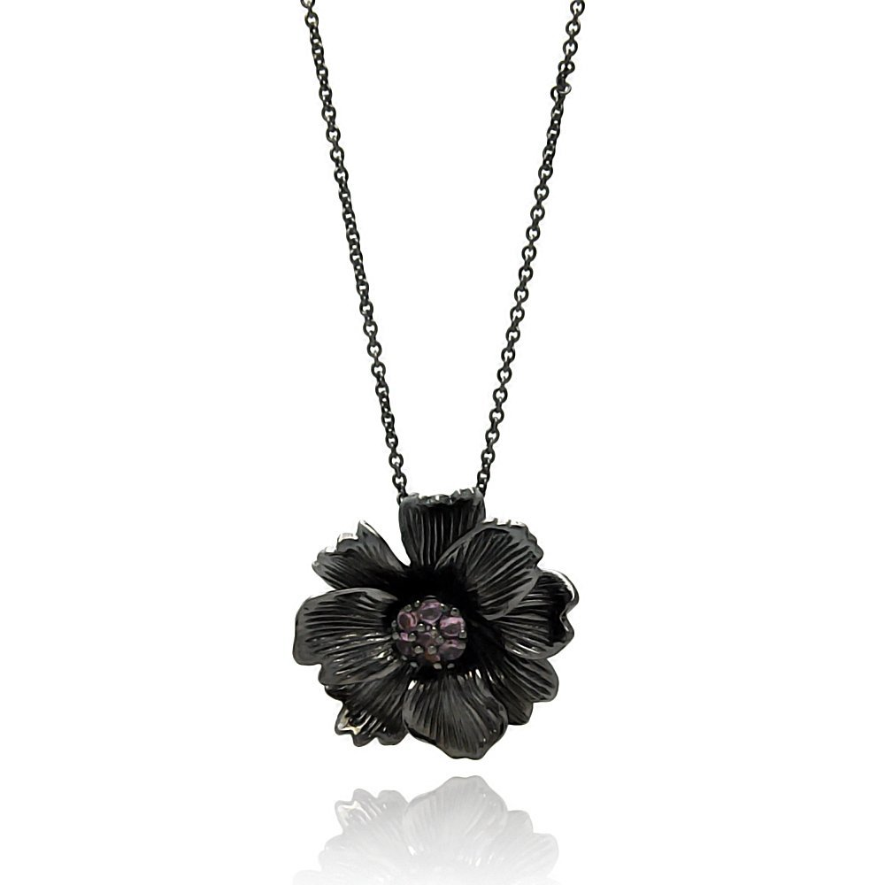 Forever Flawless Jewelry Black Rhodium Plated Brass Lavender CZ Designer Flower Pendant Necklace