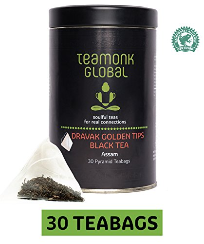Teamonk Assam Organic Black Tea, 30 Teabags | 100% Natural Whole Leaf Teabags | Dravak Second Flush Black Tea for Energy Booster | No Additives, USDA Organic (Certified Organic Assam Tea)