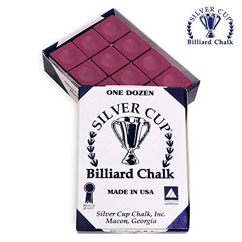 SILVER CUP Billiard CHALK - ONE DOZEN (Burgundy)