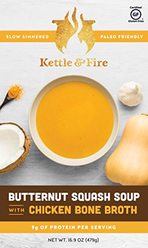 Organic Butternut Squash Boxed Soup with Collagen-Rich Chicken Bone Broth - Instant Soup On The Go - Gluten Free w 9 grams of Protein - Paleo Friendly Soups To Go(2 Pack) - Butternut Soup