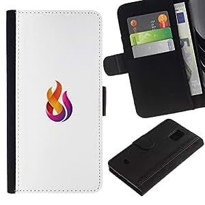 All Phone Most Case / Oferta Especial Cáscara Funda de cuero Monedero Cubierta de proteccion Caso / Wallet Case for Samsung Galaxy S5 Mini, SM-G800 // logo fuego