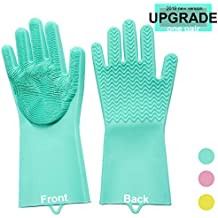 One Pair Magic Silicone Gloves 13x6 inches Reusable Cleaning Brush Scrubber Heat Resistant Latex Gloves Great for Dish Washing Room Cleaning Pet Hair Care Grooming (Mint)