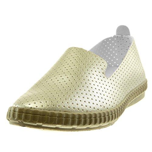Angkorly Damen Schuhe Mokassin - Slip-On - Flexible - Perforiert Flache Ferse 2 cm Gold