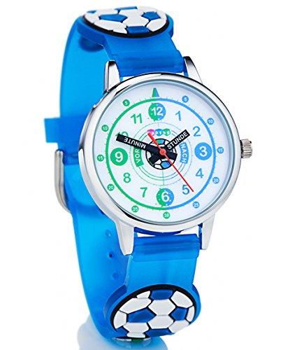 Reloj de pulsera de HAPIDS para aprender las horas, para niños, diseño con balón de fútbol, color:azul: Amazon.es: Relojes