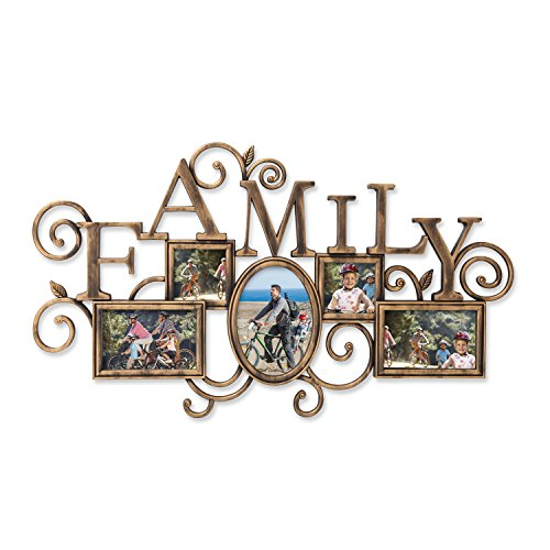 Adeco 5 Openings Decorative Antique Gold Family Wall Hanging Home Collage Picture Photo Frame - Made to Display Two 4x6 and One 5x5 Photos by Adeco
