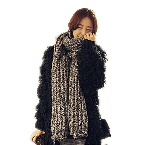 Super Pro Warm Up Jacket - Cutest Autum Scarves,Dealzip Inc Autum Scarves Winter Girls Super Long and Thick Contrast Colour Design Warm Mohair Wool Scarf Shawl Wraps - Grey