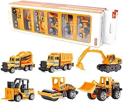 Juguetes de Construcción Juegos Vehículos de Aleación para Niños Juego Tractor Camión Volquete Excavadora Remolque Juguete Carro de 3 Años Conocer Coches Juguete Educativo (A)