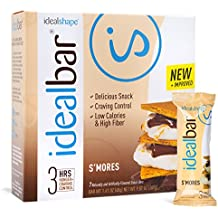 IdealBar, Meal Replacement Bars, Smores, w/Hunger Blocker - 140 Calories, 8g Sugar, 11g Protein - 7 Bars