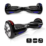 CHO Electric Self Balancing Dual Motors Scooter Hoverboard With Built-In Speaker and LED Lights - UL2272 Certified (Black)