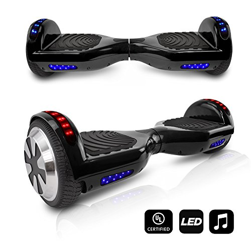 lancing Dual Motors Scooter Hoverboard With Built-In Speaker and LED Lights - UL2272 Certified (Black) ()