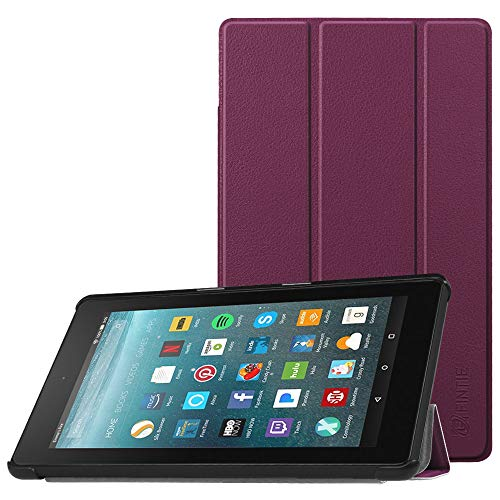 Fintie Slim Case for All-New Amazon Fire 7 Tablet (7th Generation, 2017 Release), Ultra Lightweight Slim Shell Standing Cover with Auto Wake/Sleep, - Tablet Purple Case 7 Inch