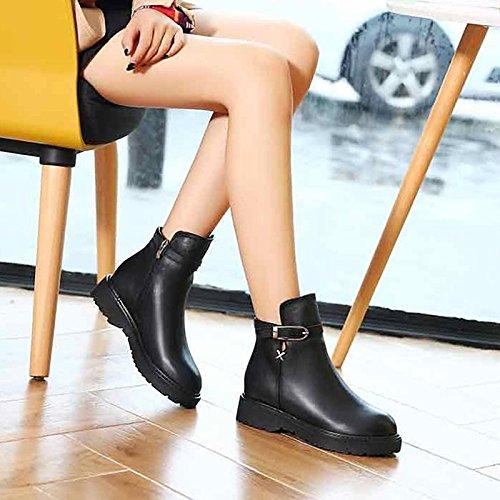 Zapatos Black PU Ronda de de botines Casual soles Invierno Negro Botines Botas Toe Otoño ligero Mujer qrrwxg